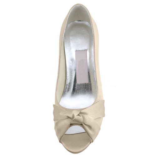 ebbfb947617 Minitoo Womens Peep Toe Kitten Heel Knot Bridal Wedding Champagne ...