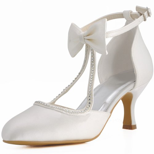 3ddf1df5b80 Minitoo Womens Round Toe Kitten Heel T-Strap Bridal Wedding Ivory ...