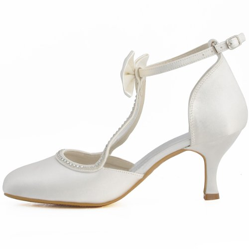 3913ff46aac Minitoo Womens Round Toe Kitten Heel T-Strap Bridal Wedding Ivory ...