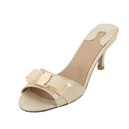 SEXYHER-Womens-Beige-Bowknot-Paint-Kitten-Heels-Slipper-2.6-Inches-Fashion-Shoes-SHOLSDN-1470-1