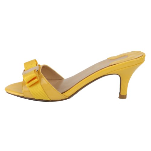 SEXYHER Women's Yellow Bowknot Paint Kitten Heels Slipper 2.6 ...
