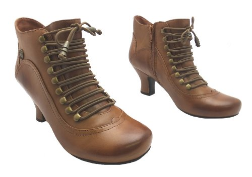 Size-7-Womens-Vivianna-Hush-Puppies-Brown-Zip-Up-Leather-High-Heel-Shoe-Boots-1