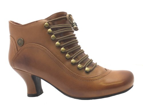 Size-7-Womens-Vivianna-Hush-Puppies-Brown-Zip-Up-Leather-High-Heel-Shoe-Boots-2