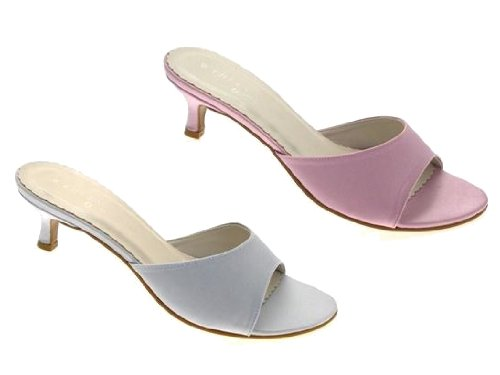 Satin Mules With Kitten Heels