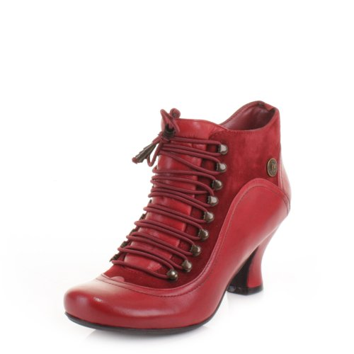 Womens-Hush-Puppies-Red-Vivianna-Leather-Boots-SIZE-5-0