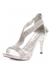 Womens-Mid-Heel-Diamante-Embellished-Sandals-Shoes-SIZE-8-0