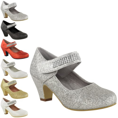 CHILDRENS KIDS GIRLS WEDDING DIAMANTE STRAP LOW MID HEEL SHOES ...