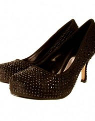Ladies-TRUFFLE-Black-Satin-Diamante-Kitten-Mid-Heel-Prom-Evening-Court-Shoes-4-0