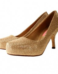 Ladies-TRUFFLE-Gold-Sparkly-Glitter-Mid-Kitten-Heel-Bridal-Evening-Court-Shoes-5-0