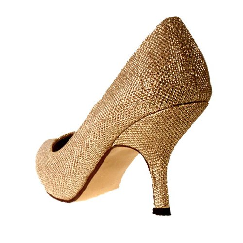 Ladies TRUFFLE Gold Sparkly Glitter Mid Kitten Heel Bridal Evening ... 8148d2afed