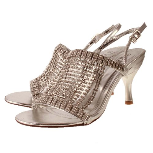 Ladies TRUFFLE Silver Diamante Kitten Heel Evening Bridal Sandal ...