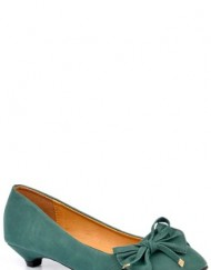 Womens-Faux-Leather-Bow-Pumps-With-Kitten-Heel-Green-UK-3-EU-36-0