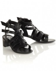 Blue-Inc-Woman-Ladies-Open-Toe-Black-Block-Heel-Ankle-Strap-Gladiator-Sandals-UK-6-0