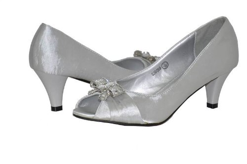LADIES LOW HEEL PEEP TOE SATIN SILVER BOW DIAMANTE SANDAL SHOES UK ...