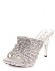 Womens-Diamante-Silver-Prom-Mules-Shoes-Sandals-SIZE-4-0