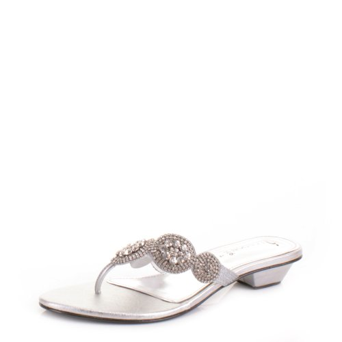 Womens Low Heel Diamante Mule Evening Sandals Shoe SIZE 7