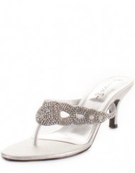 Womens-Low-Heel-Diamante-Satin-Mule-Wedding-Shoes-SIZE-7-0