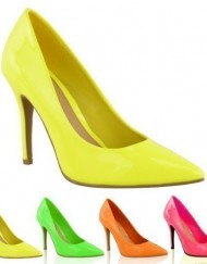 LADIES-WOMENS-BRIGHT-FLUORESCENT-NEON-POINTED-TOE-COURT-SHOES-HIGH-HEELS-SIZE-UK-4-Neon-Yellow-0