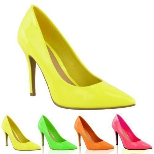 LADIES WOMENS BRIGHT FLUORESCENT NEON POINTED TOE COURT SHOES HIGH HEELS  SIZE (UK 4, Neon Yellow)