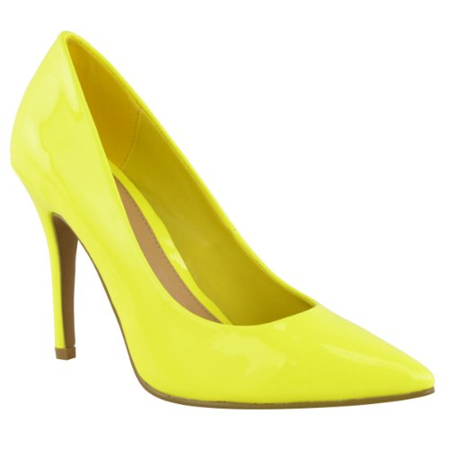 LADIES-WOMENS-BRIGHT-FLUORESCENT-NEON-POINTED-TOE-COURT-SHOES-HIGH-HEELS-SIZE-UK-4-Neon-Yellow-1