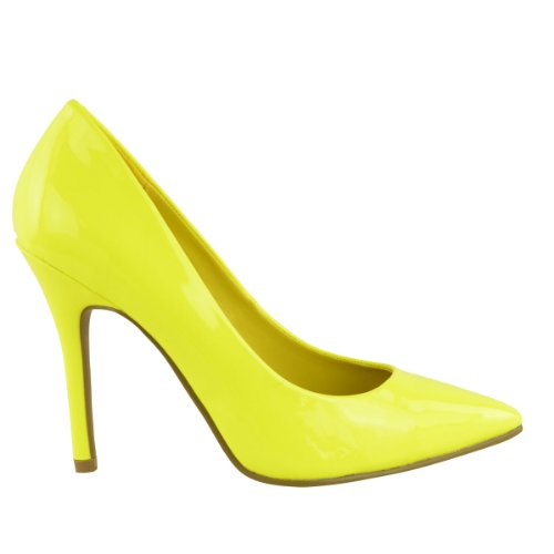LADIES-WOMENS-BRIGHT-FLUORESCENT-NEON-POINTED-TOE-COURT-SHOES-HIGH-HEELS-SIZE-UK-4-Neon-Yellow-2