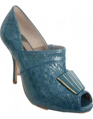 TED-BAKER-CITRINELE-Teal-Crocodile-All-Leather-Peep-Toe-Shoe-Boot-UK-4-0
