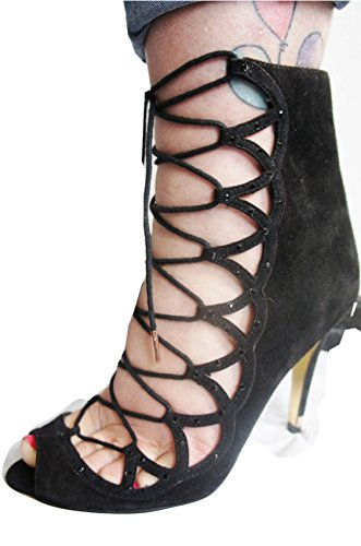 TED-BAKER-Jet-Black-Real-Suede-Crossover-Lace-Front-Peep-Toe-Shoes-Sandals-Size-4-Eu37-1