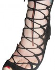 TED-BAKER-Jet-Black-Real-Suede-Crossover-Lace-Front-Peep-Toe-Shoes-Sandals-Size-4-Eu37-2