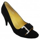 TED-BAKER-Jet-Black-Real-Suede-Leather-Lined-Buckle-Front-Peep-Toe-Court-Shoe-Size-6-0