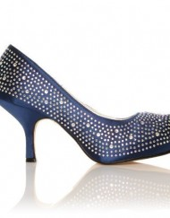 ANNIE-Navy-Satin-Kitten-Mid-Heel-Diamante-Evening-Court-Shoes-Size-UK-3-EU-36-0