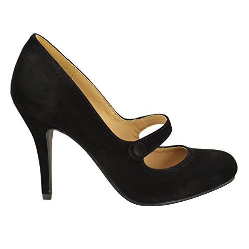 LADIES-WOMENS-LOW-MID-HIGH-HEEL-ANKLE-STRAP-COURT-SHOES-WORK-PUMPS-SANDALS-SIZE-UK-7-Black-Suede-1