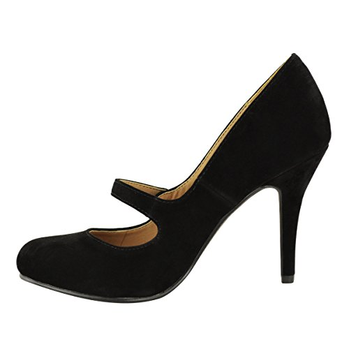 LADIES WOMENS LOW MID HIGH HEEL ANKLE STRAP COURT SHOES WORK PUMPS ...