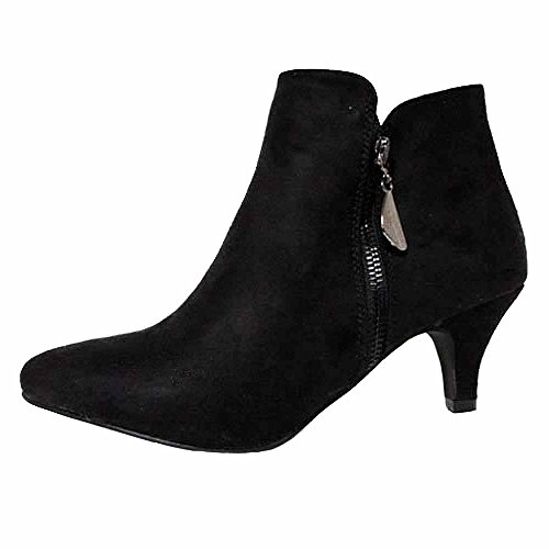 Ladies Low Heel Sexy Pixi Kitten Heel Black Faux Suede Almond Toe ...