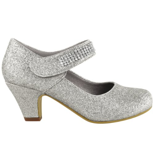 WOMENS-LADIES-WEDDING-DIAMANTE-PROM-LOW-MID-HIGH-HEEL-BRIDAL-COURT-SHOES-SIZE-UK-5-Silver-Glitter-1