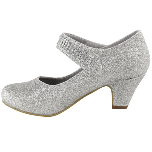 WOMENS-LADIES-WEDDING-DIAMANTE-PROM-LOW-MID-HIGH-HEEL-BRIDAL-COURT-SHOES-SIZE-UK-5-Silver-Glitter-2