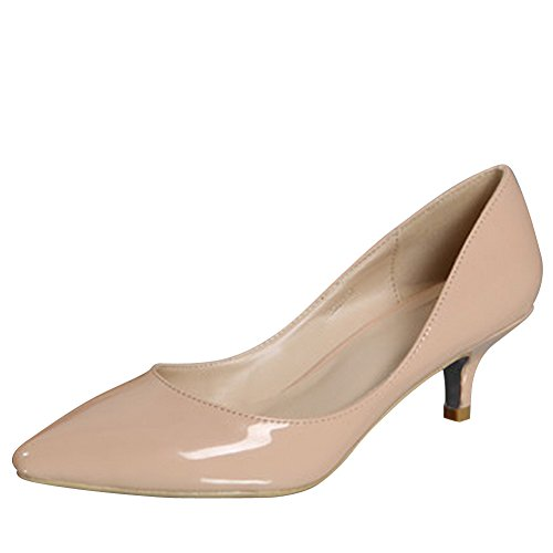 Womens-Pointed-Toe-Kitten-Heel-Multi-Color-Court-Shoes-Nude-38-UK-5.5-0
