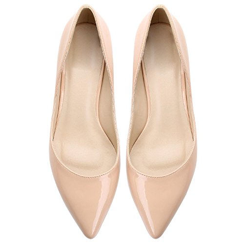 Women's Pointed Toe Kitten Heel Multi Color Court Shoes Nude 38 ...