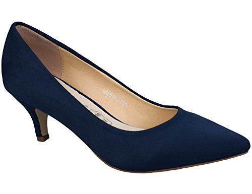Greatonu-Women-Court-Shoes-Party-Shoes-Pointed-Toe-Mid-Heel-Kitten-Heel-41-EU-Blue-1