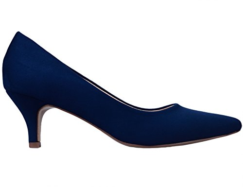 Greatonu-Women-Court-Shoes-Party-Shoes-Pointed-Toe-Mid-Heel-Kitten-Heel-41-EU-Blue-2