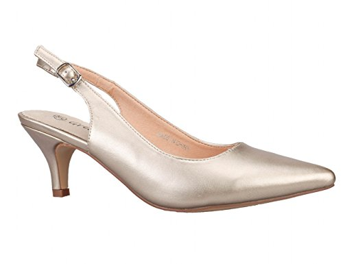 Greatonu-Women-Court-Shoes-Slingback-Party-Shoes-Pointed-Toe-Mid-Heel-39-EU-Golden-0