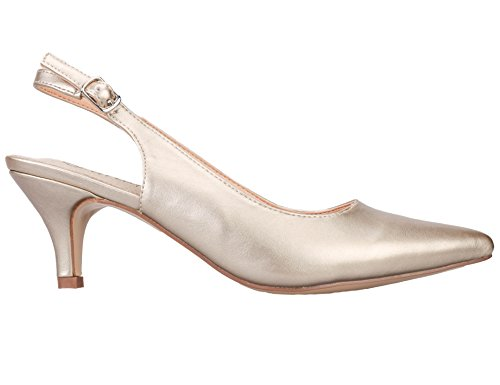Greatonu-Women-Court-Shoes-Slingback-Party-Shoes-Pointed-Toe-Mid-Heel-39-EU-Golden-1