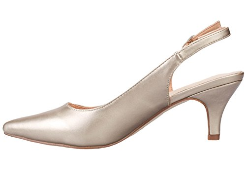 Greatonu-Women-Court-Shoes-Slingback-Party-Shoes-Pointed-Toe-Mid-Heel-39-EU-Golden-2