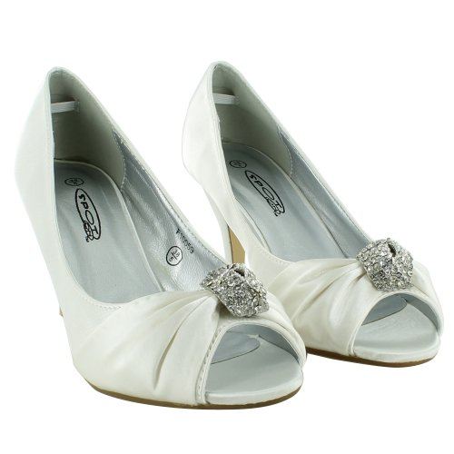 New-Ladies-Bridal-Wedding-Prom-Party-Kitten-Low-Heel-Peep-Toe-Diamante-Satin-Court-Sandals-UK-Size-3-4-5-6-7-8-White-UK-Size-5-2